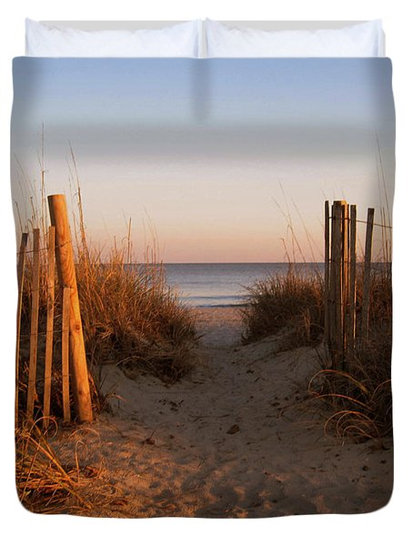 Early Morning At Myrtle Beach Sc Duvet Cover by Susanne Van Hulst