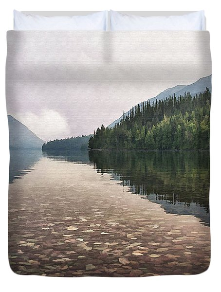 Early Morning On Lake Mcdonald II Duvet Cover by Sharon Foster