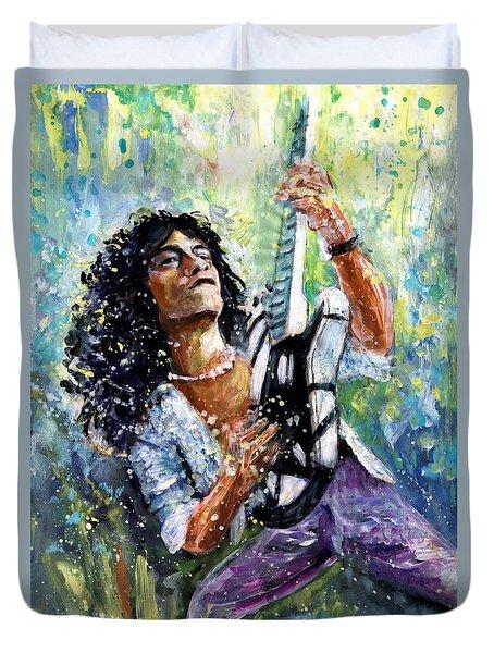 Eddie Van Halen Duvet Cover by Miki De Goodaboom