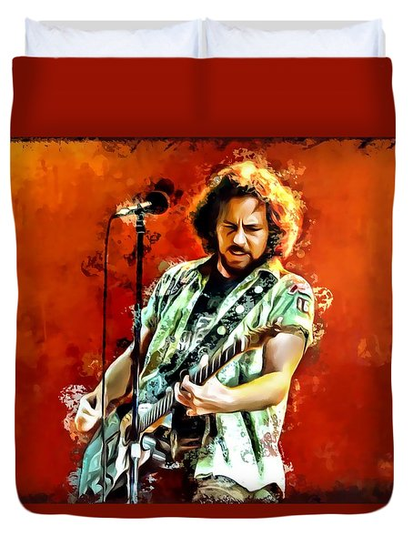 Eddie Vedder Painting Duvet Cover by Scott Wallace