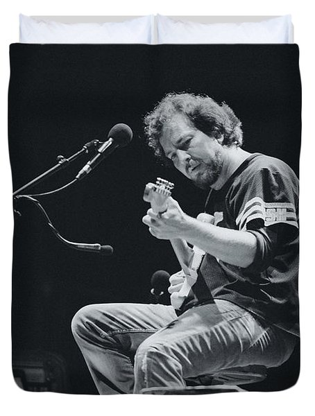 Eddie Vedder Playing Live Duvet Cover by Marco Oliveira