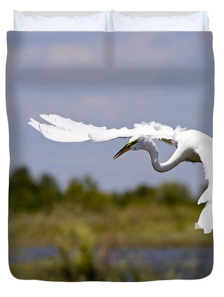 Egret Ballet Duvet Cover by Mike  Dawson