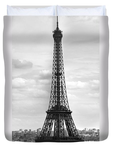 Eiffel Tower BLACK AND WHITE Duvet Cover by Melanie Viola