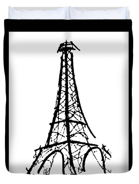 Eiffel Tower Black And White Duvet Cover by Robyn Saunders