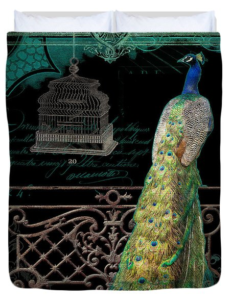 Elegant Peacock Iron Fence W Vintage Scrolls 4 Duvet Cover by Audrey Jeanne Roberts
