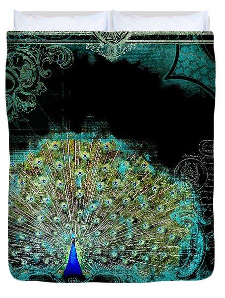 Elegant Peacock W Vintage Scrolls 3 Duvet Cover by Audrey Jeanne Roberts