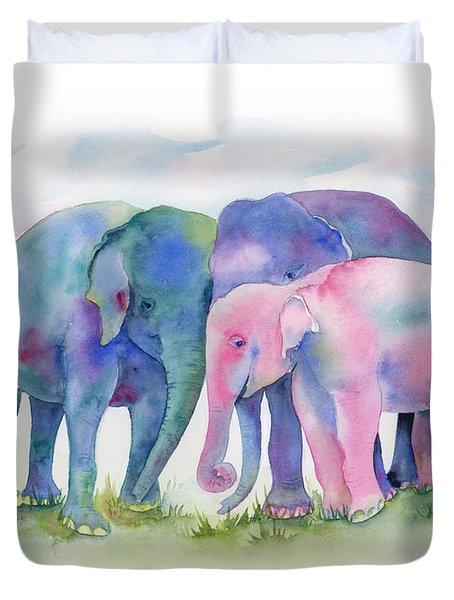Elephant Hug Duvet Cover by Amy Kirkpatrick