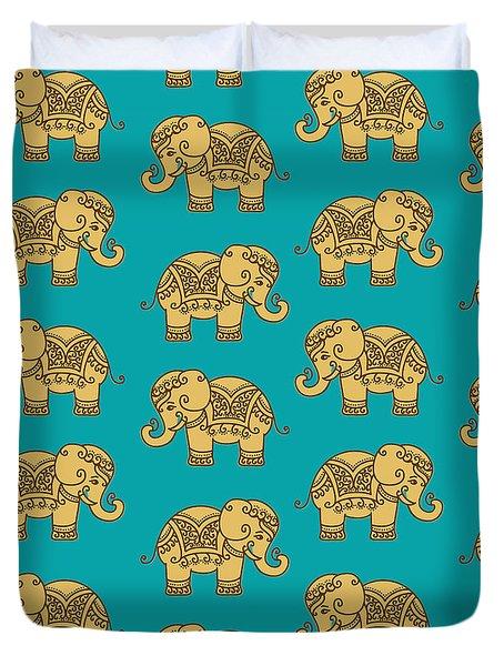Elephant Pattern Duvet Cover by Krishna Kharidehal