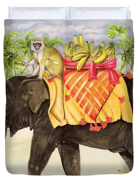 Elephants With Bananas Duvet Cover by EB Watts