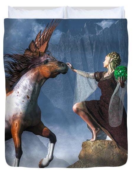 Elf Summoning A Pegasus Duvet Cover by Daniel Eskridge