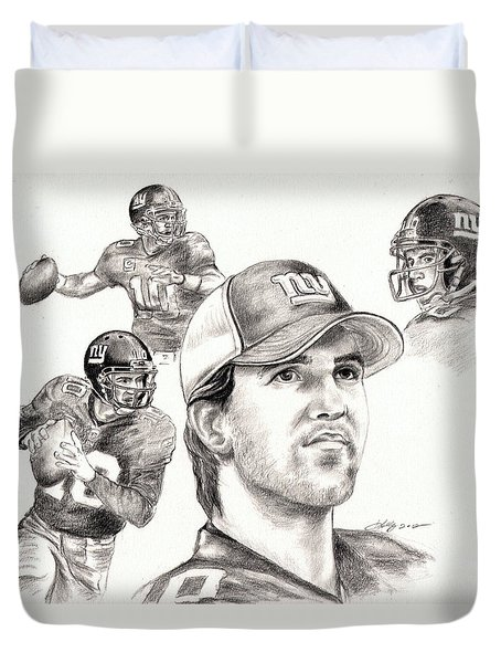 Eli Manning Duvet Cover by Kathleen Kelly Thompson