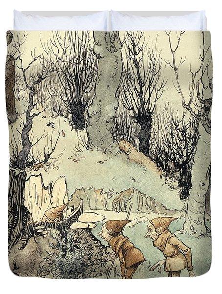 Elves In A Wood Duvet Cover by Arthur Rackham