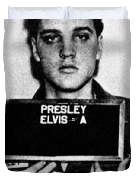 Elvis Presley Mug Shot Vertical 1 Duvet Cover by Tony Rubino