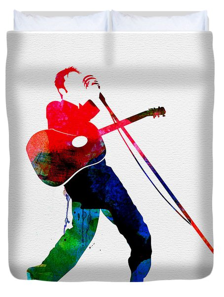 Elvis Watercolor Duvet Cover by Naxart Studio