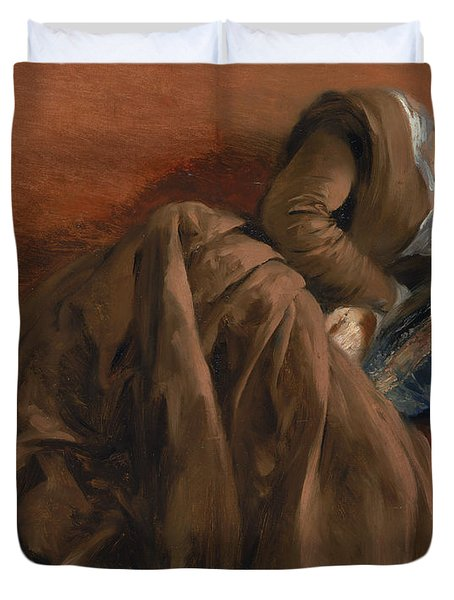 Emilie The Artist's Sister Asleep Duvet Cover by Adolph Friedrich Erdmann von Menzel