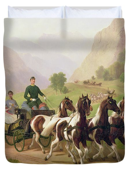 Emperor Franz Joseph I Of Austria Being Driven In His Carriage With His Wife Elizabeth Of Bavaria I Duvet Cover by Austrian School