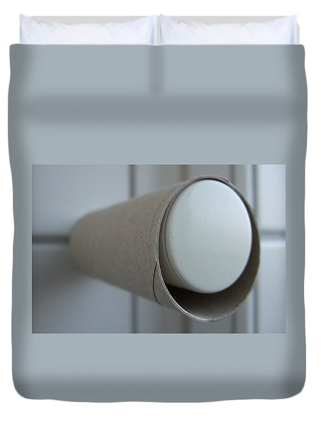 Empty toilet paper roll Duvet Cover by Matthias Hauser