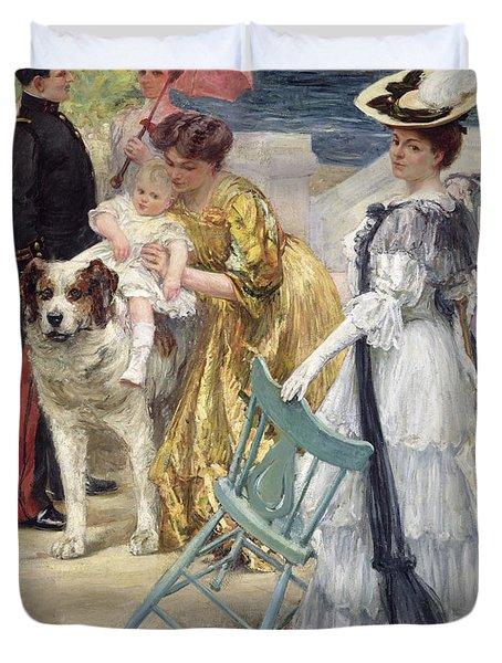 En Famille Duvet Cover by Gustave Grau
