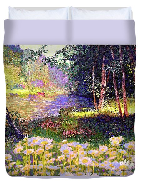 Enchanted By Daisies, Modern Impressionism, Wildflowers, Silver Birch, Aspen Duvet Cover by Jane Small