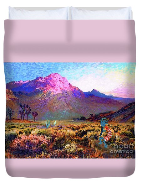 Enchanted Kokopelli Dawn Duvet Cover by Jane Small