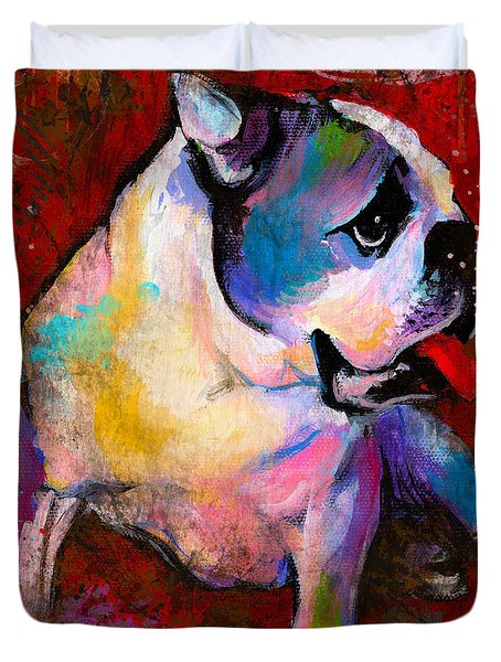 English American Pop Art Bulldog Print Painting Duvet Cover by Svetlana Novikova