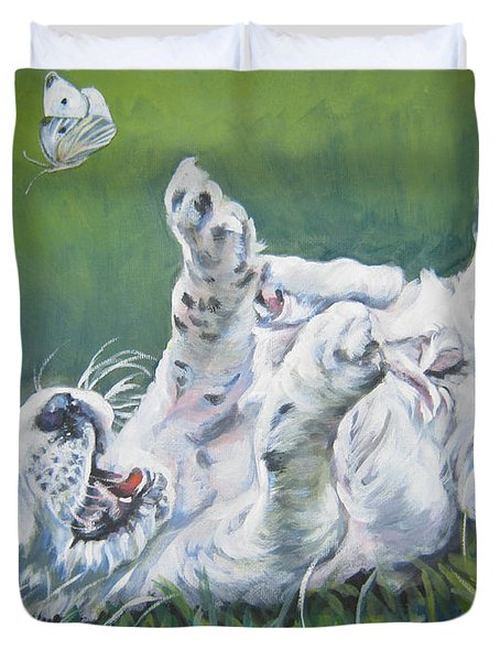English Setter Puppy And Butterflies Duvet Cover by Lee Ann Shepard