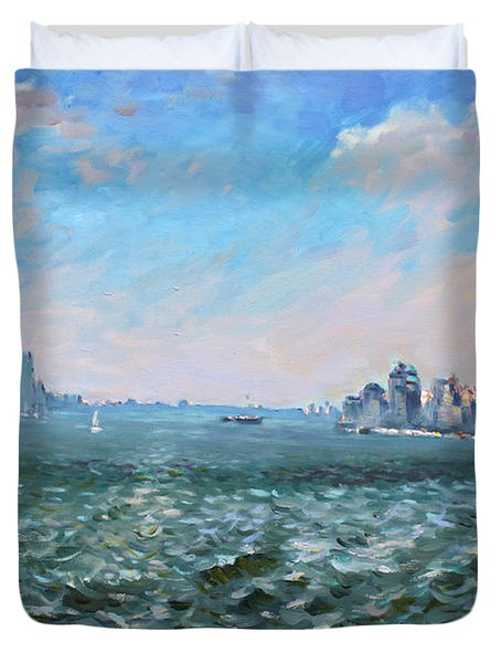 Entering In New York Harbor Duvet Cover by Ylli Haruni