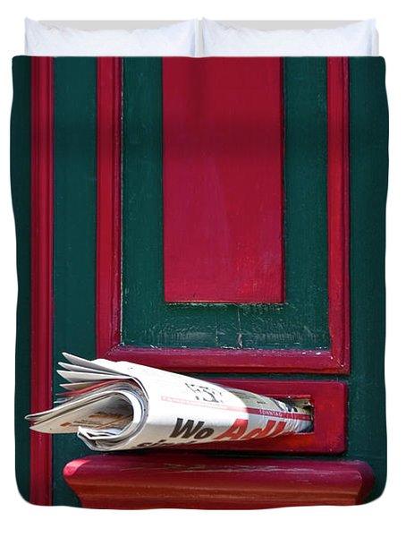 Entrance Door And Newspaper Duvet Cover by Heiko Koehrer-Wagner