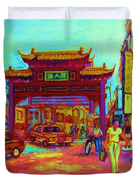 ENTRANCE TO CHINATOWN Duvet Cover by CAROLE SPANDAU