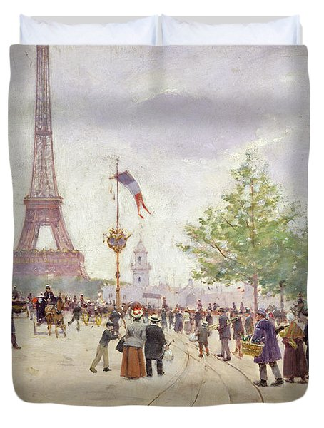 Entrance To The Exposition Universelle Duvet Cover by Jean Beraud