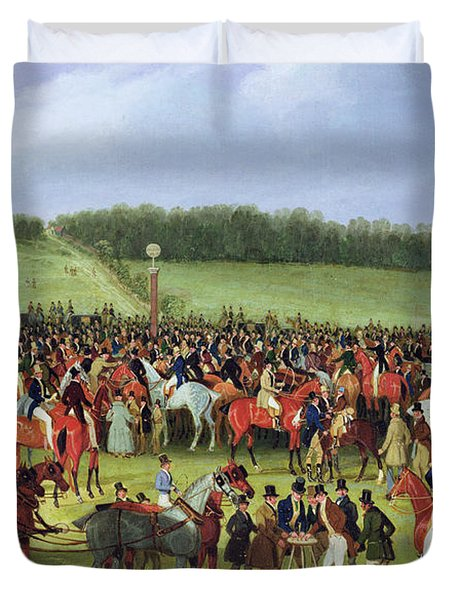 Epsom Races - The Betting Post Duvet Cover by James Pollard