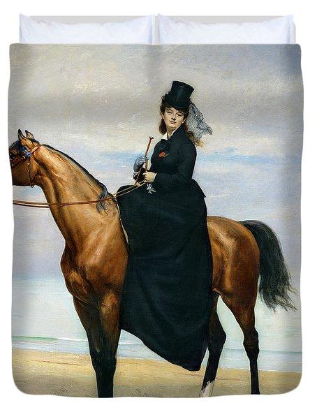 Equestrian Portrait Of Mademoiselle Croizette Duvet Cover by Charles Emile Auguste Carolus Duran