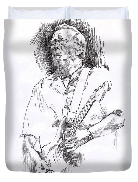 Eric Clapton Blue Duvet Cover by David Lloyd Glover