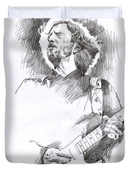 Eric Clapton Sustains Duvet Cover by David Lloyd Glover