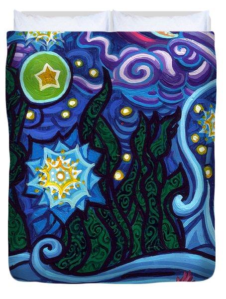 Etoile Noire Bleu Duvet Cover by Genevieve Esson
