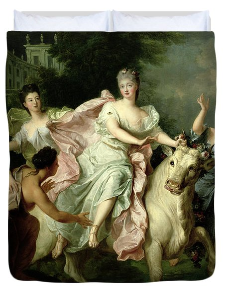 Europa Being Carried Off By Jupiter Metamorphosed Into A Bull Duvet Cover by Pierre Gobert