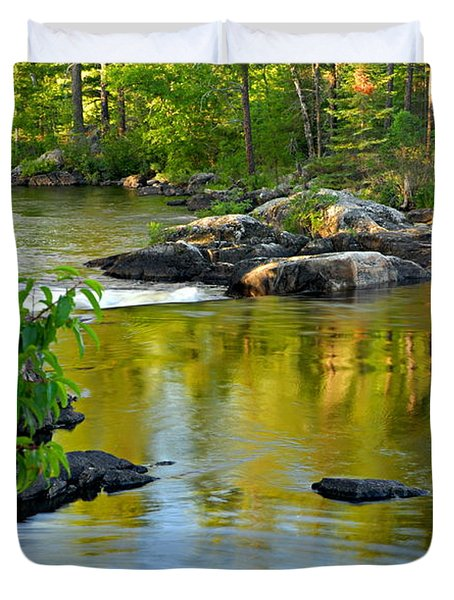 Evening Reflections At Lower Basswood Falls Duvet Cover by Larry Ricker