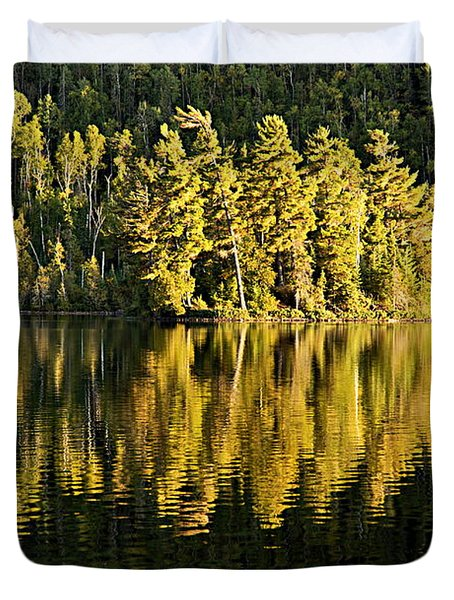 Evening Reflections On Alder Lake Duvet Cover by Larry Ricker