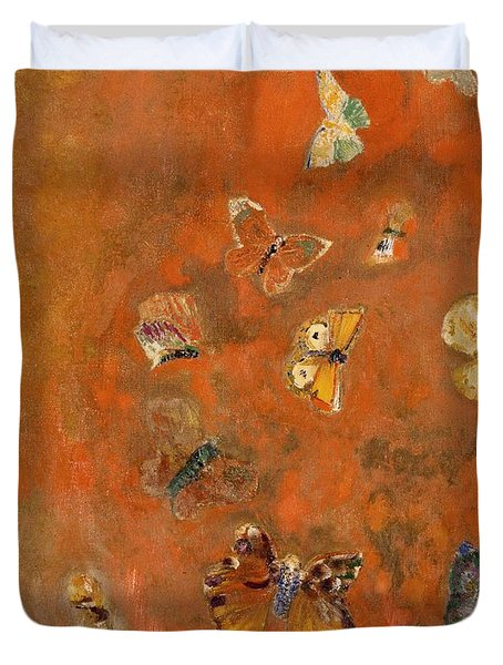 Evocation Of Butterflies Duvet Cover by Odilon Redon