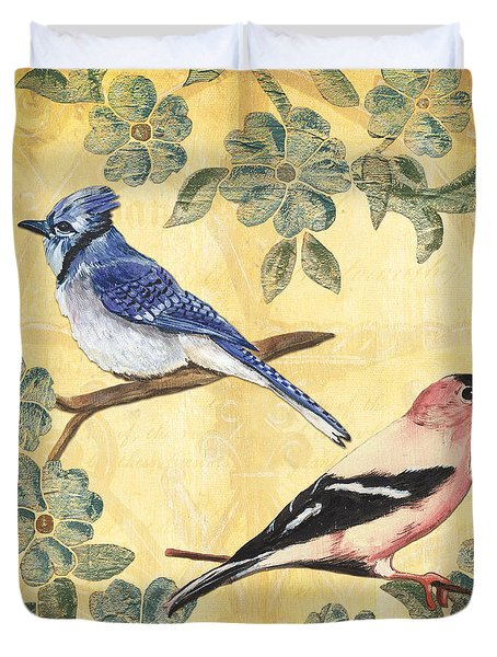 Exotic Bird Floral and Vine 1 Duvet Cover by Debbie DeWitt