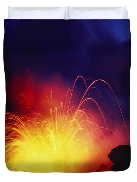 Exploding Lava And Person Duvet Cover by Greg Vaughn - Printscapes