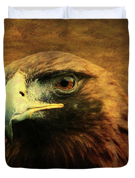 Eyes Of The Golden Hawk Duvet Cover by Wingsdomain Art and Photography