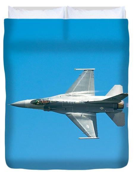 F-16 Full Speed Duvet Cover by Sebastian Musial