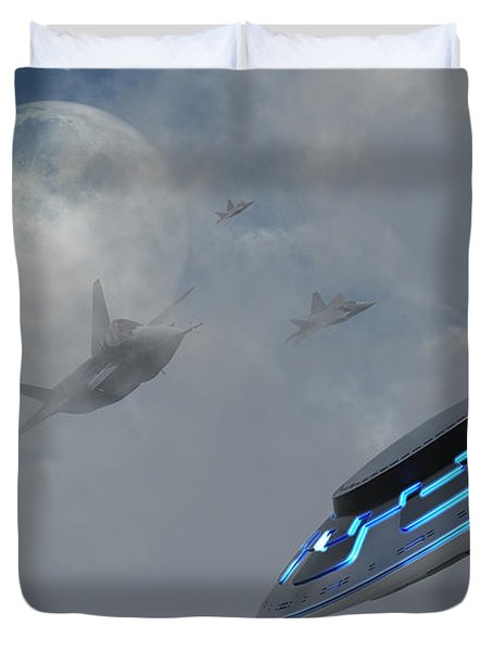 F-22 Stealth Fighter Jets On The Trail Duvet Cover by Mark Stevenson