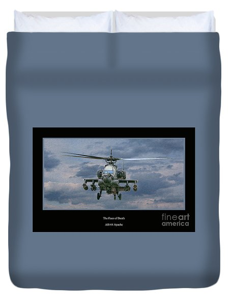 Face Of Death Ah-64 Apache Helicopter Duvet Cover by Randy Steele