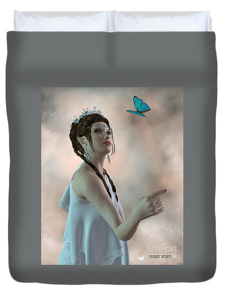 Fairy And Butterfly Duvet Cover by Corey Ford