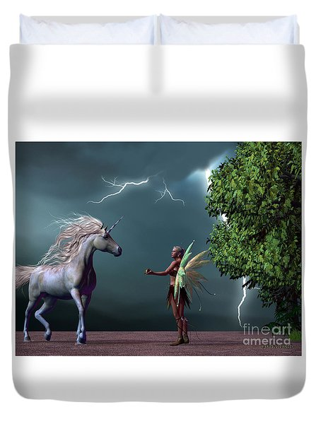 Fairy And Unicorn Duvet Cover by Corey Ford