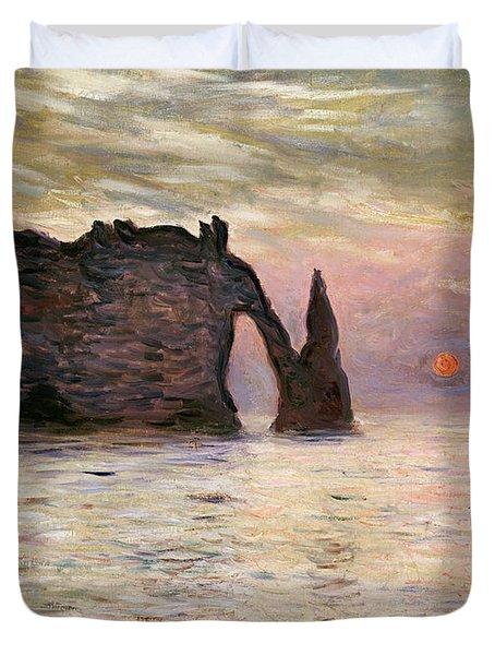 Falaise Detretat Duvet Cover by Claude Monet