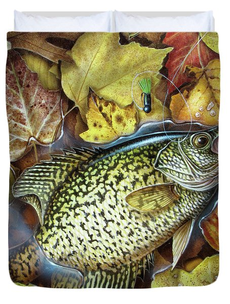 Fall Crappie Duvet Cover by JQ Licensing