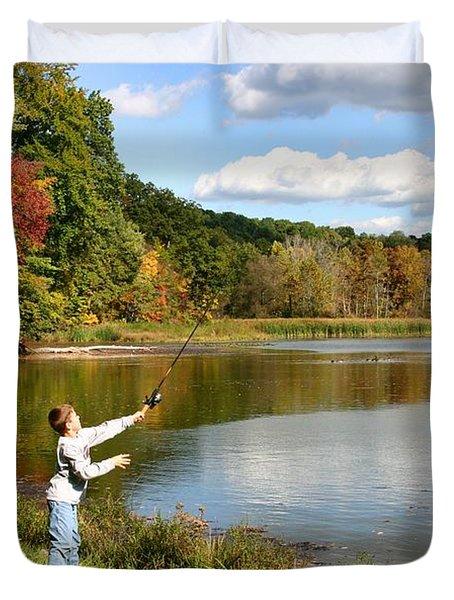 Fall Fishing Duvet Cover by Kristin Elmquist